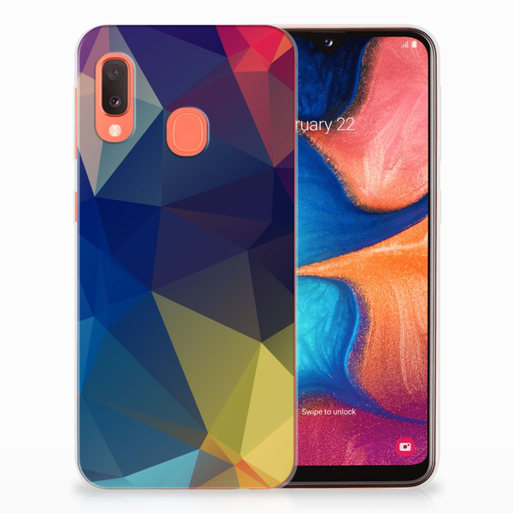 Samsung Galaxy A20e TPU Hoesje Polygon Dark
