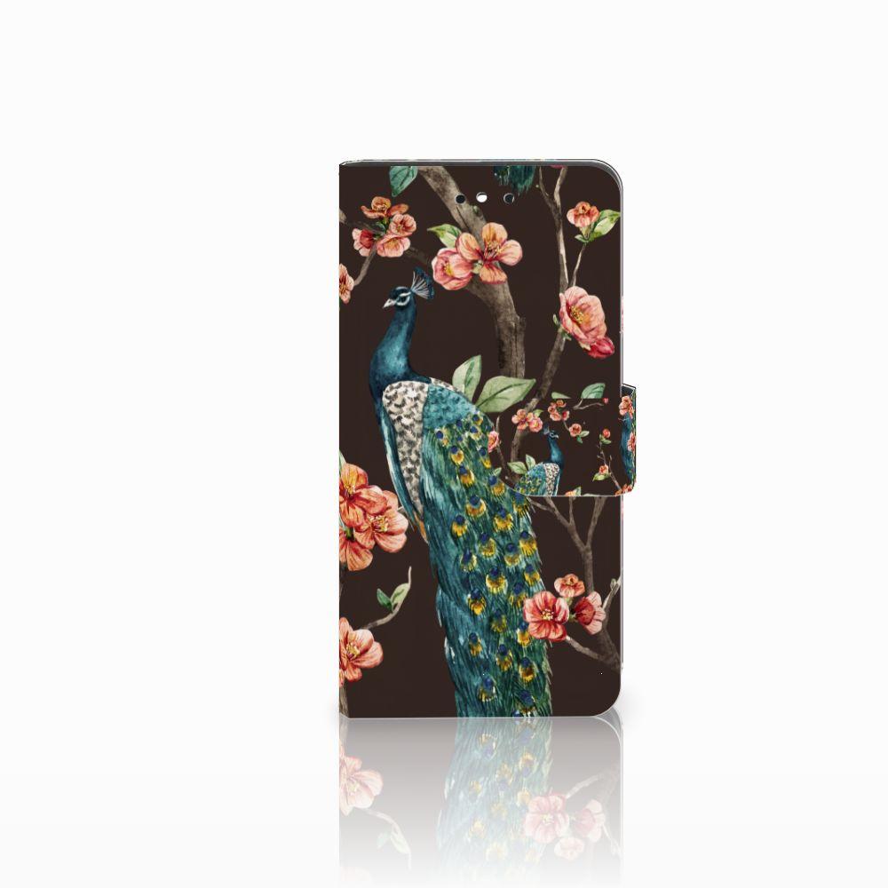 Huawei P8 Lite Smart (GR3) Boekhoesje Design Pauw met Bloemen