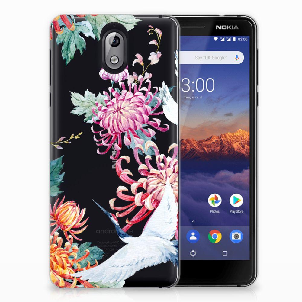 Nokia 3.1 (2018) TPU Hoesje Bird Flowers