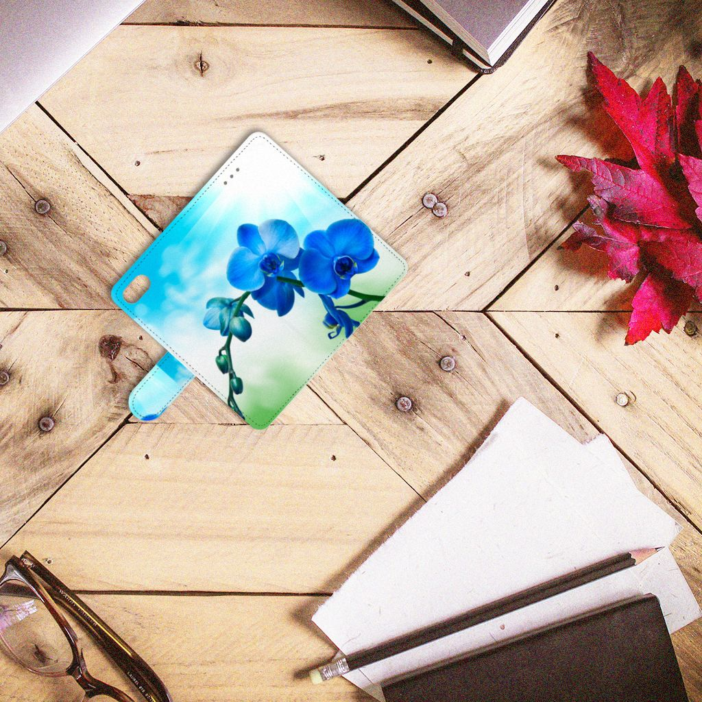 Huawei Y5 2018 Boekhoesje Design Orchidee Blauw