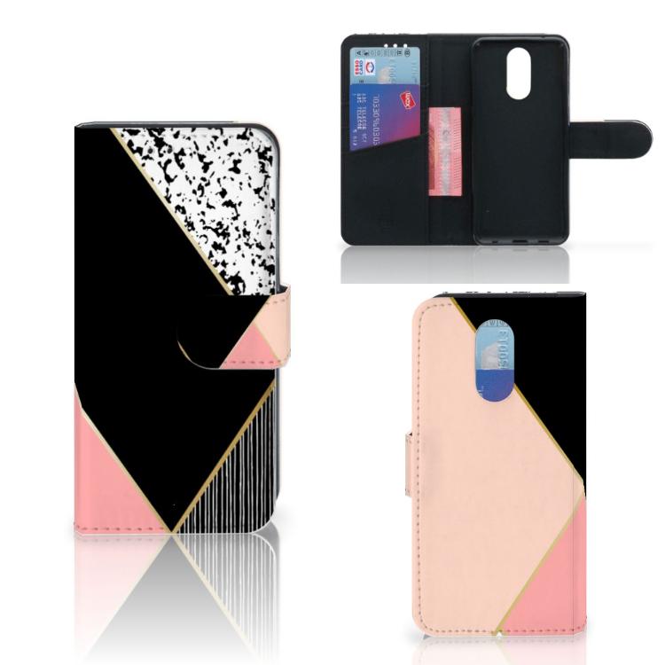 LG Q7 Bookcase Zwart Roze Vormen