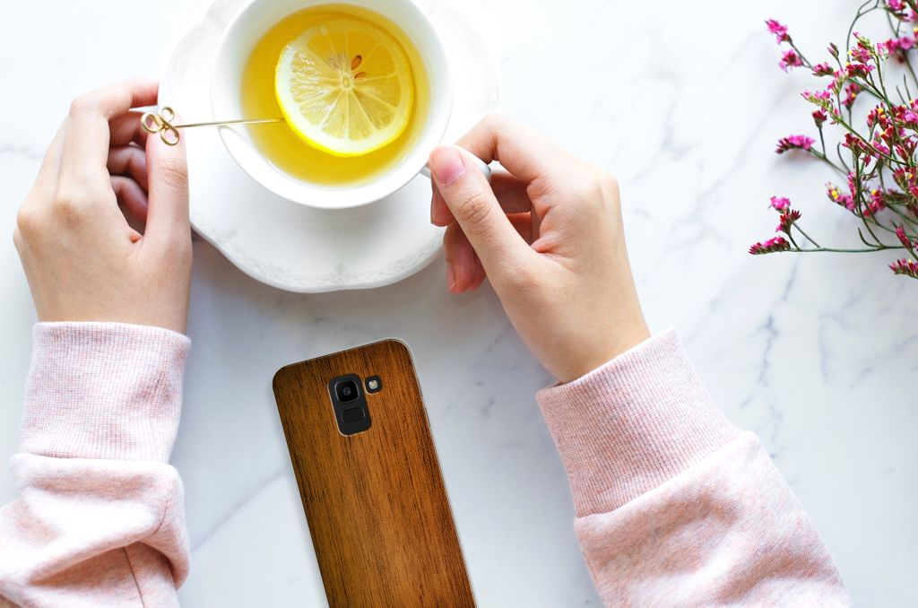 Samsung Galaxy J6 2018 Uniek TPU Hoesje Donker Hout