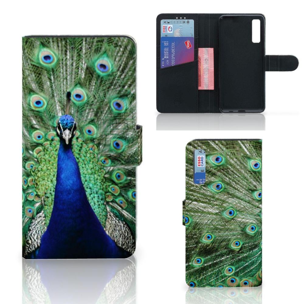 Samsung Galaxy A7 (2018) Telefoonhoesje met Pasjes Pauw