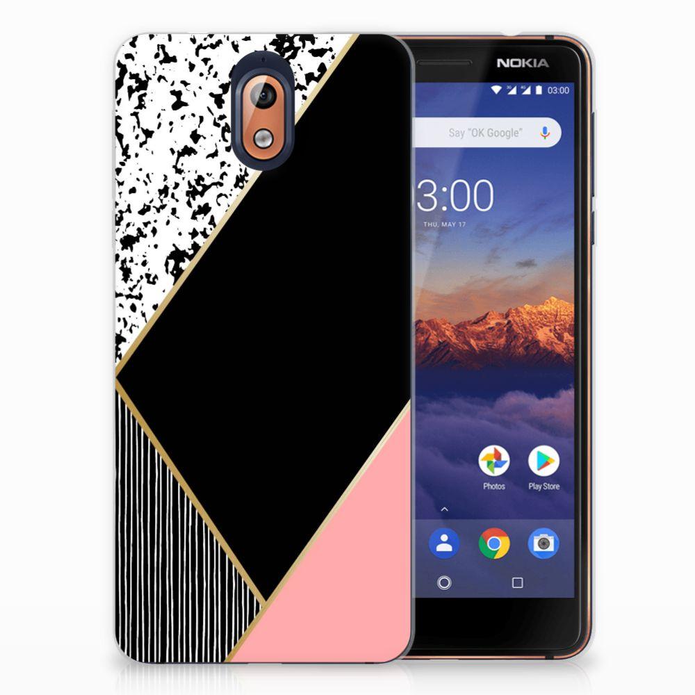 Nokia 3.1 (2018) TPU Hoesje Zwart Roze Vormen