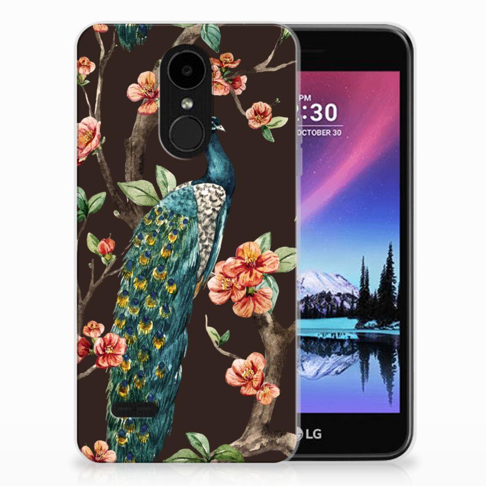 LG K4 (2017) TPU Hoesje Design Pauw met Bloemen