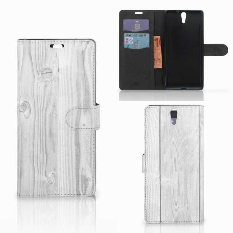 Sony Xperia C5 Ultra Book Style Case White Wood