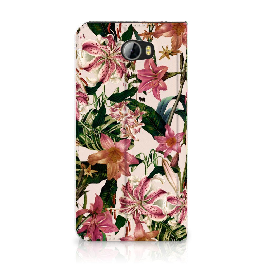 Huawei Y5 2 | Y6 Compact Uniek Standcase Hoesje Flowers