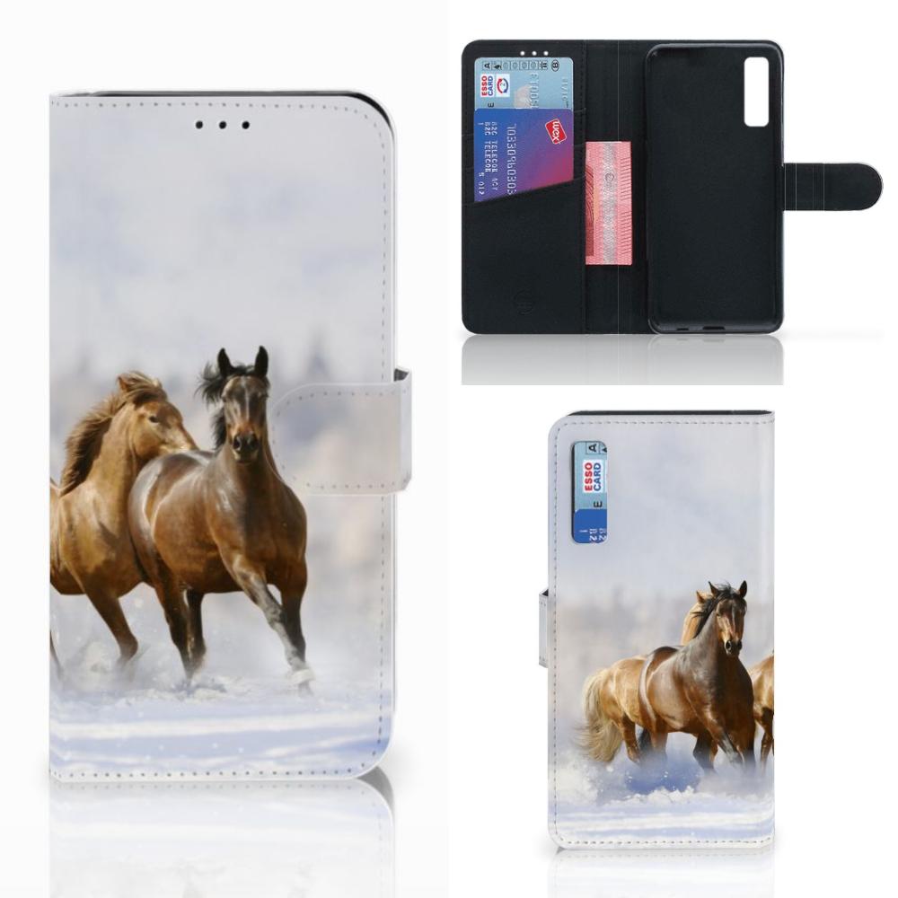 Samsung Galaxy A7 (2018) Telefoonhoesje met Pasjes Paarden