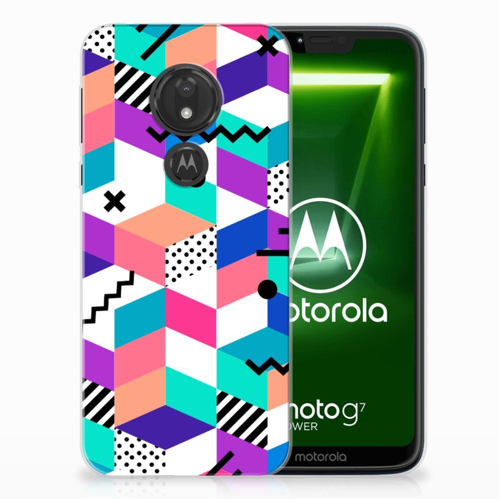 Motorola Moto G7 Power TPU Hoesje Blokken Kleurrijk