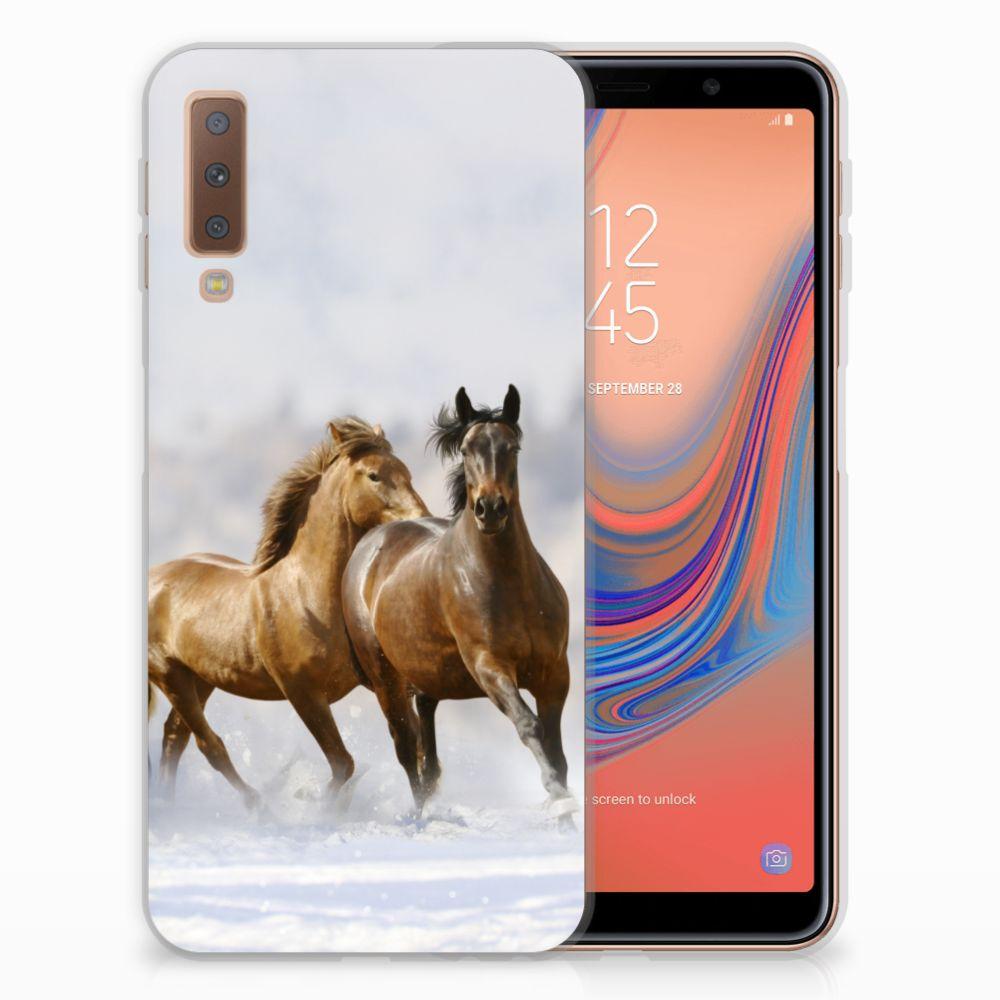 Samsung Galaxy A7 (2018) Uniek TPU Hoesje Paarden