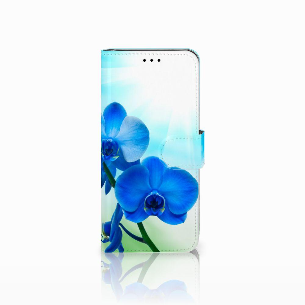 Samsung Galaxy A6 2018 Boekhoesje Design Orchidee Blauw
