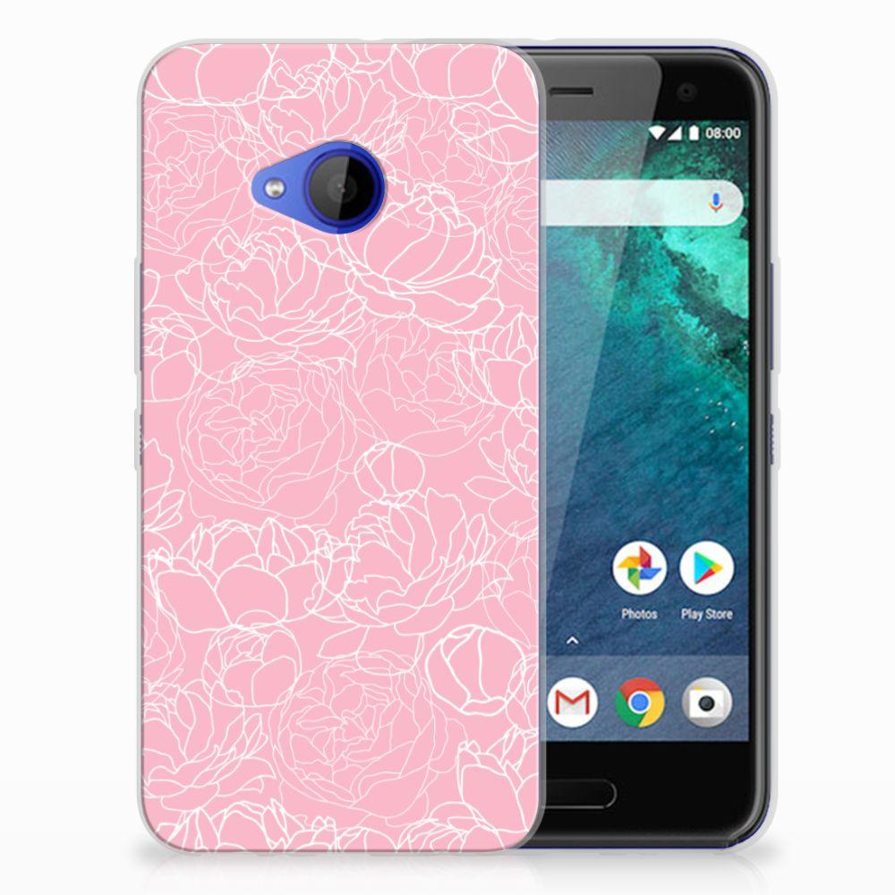 HTC U11 Life Siliconen Hoesje White Flowers