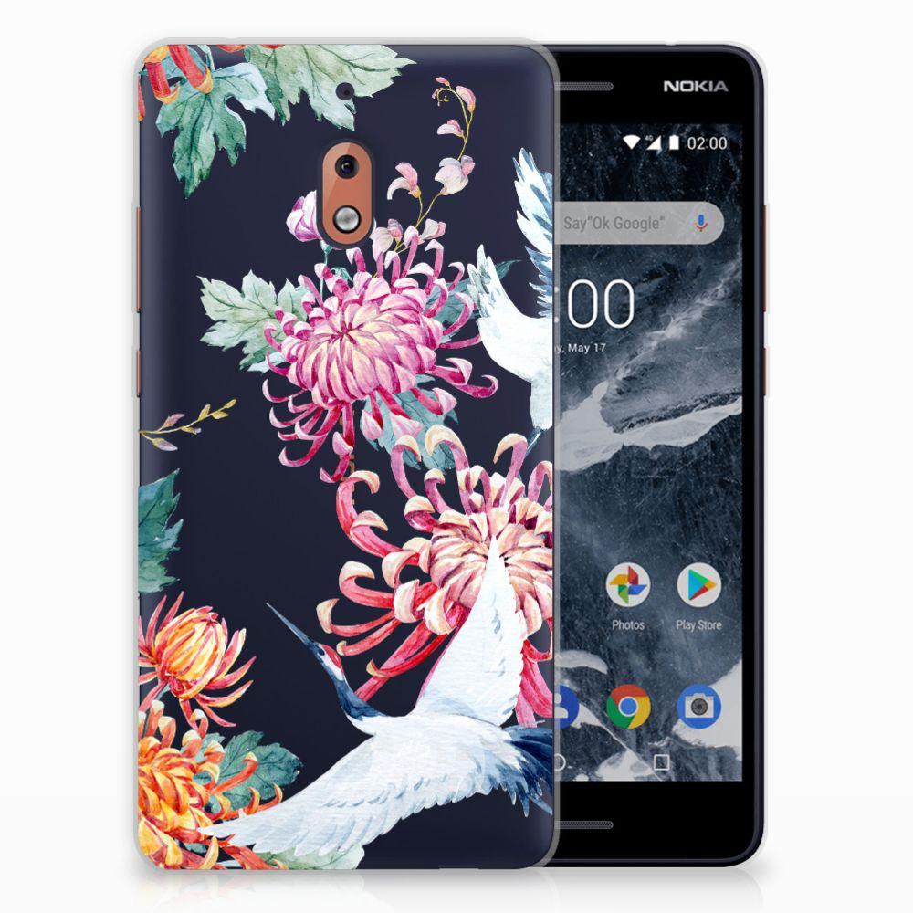 Nokia 2.1 (2018) Uniek TPU Hoesje Bird Flowers