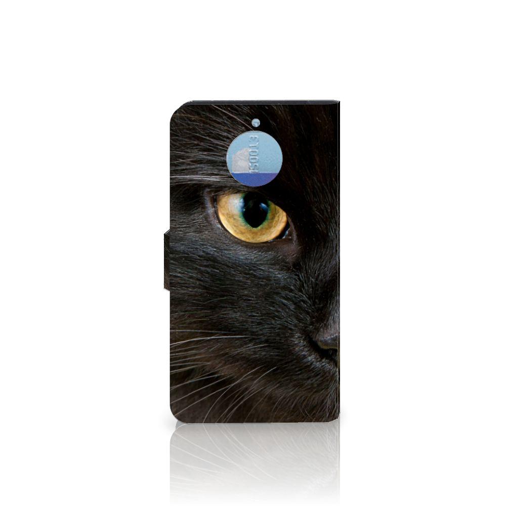 Motorola Moto G5S Plus Telefoonhoesje met Pasjes Zwarte Kat