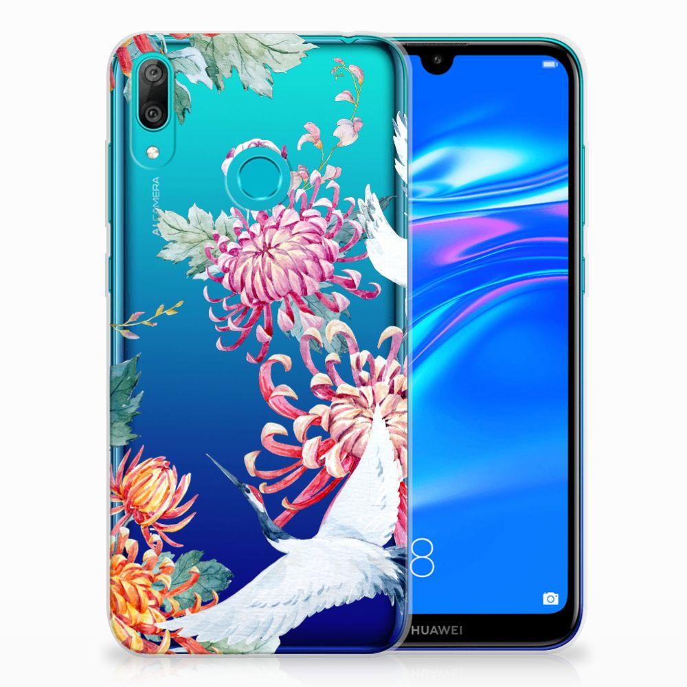 Huawei Y7 2019 TPU Hoesje Bird Flowers