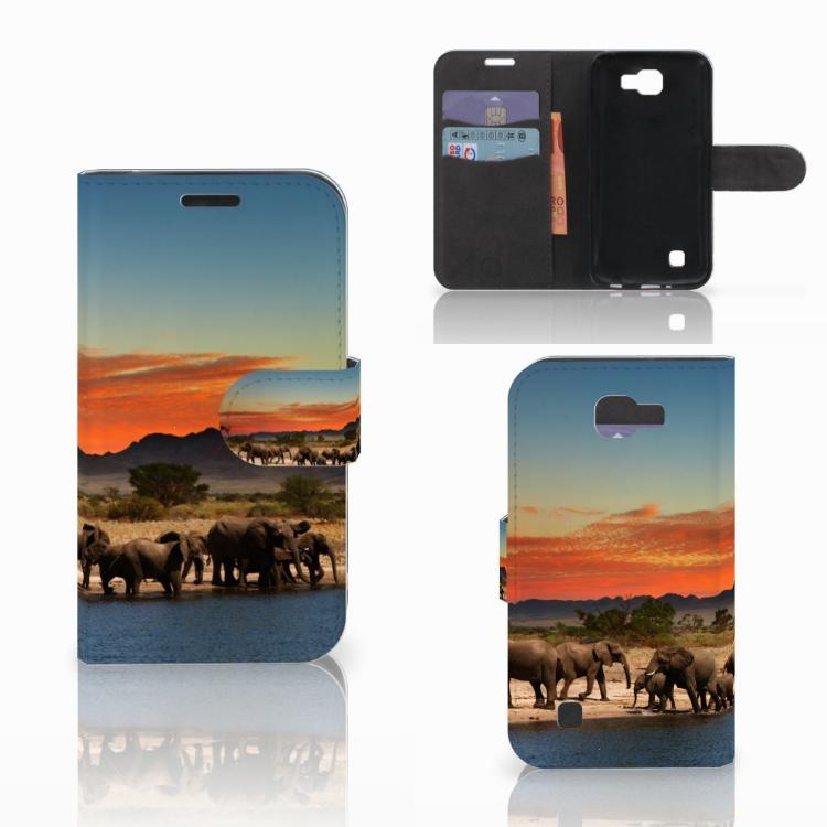 LG K4 Telefoonhoesje met Pasjes Olifanten