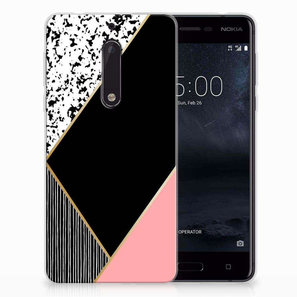 Nokia 5 TPU Hoesje Zwart Roze Vormen