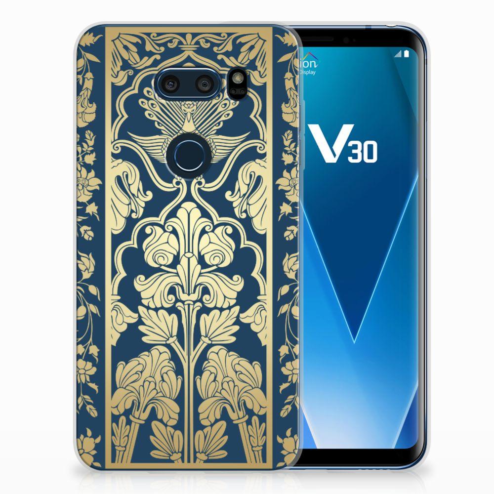 LG V30 Uniek TPU Hoesje Golden Flowers