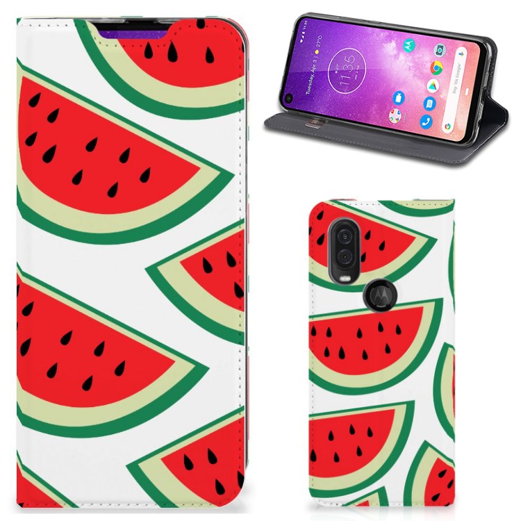 Motorola One Vision Flip Style Cover Watermelons