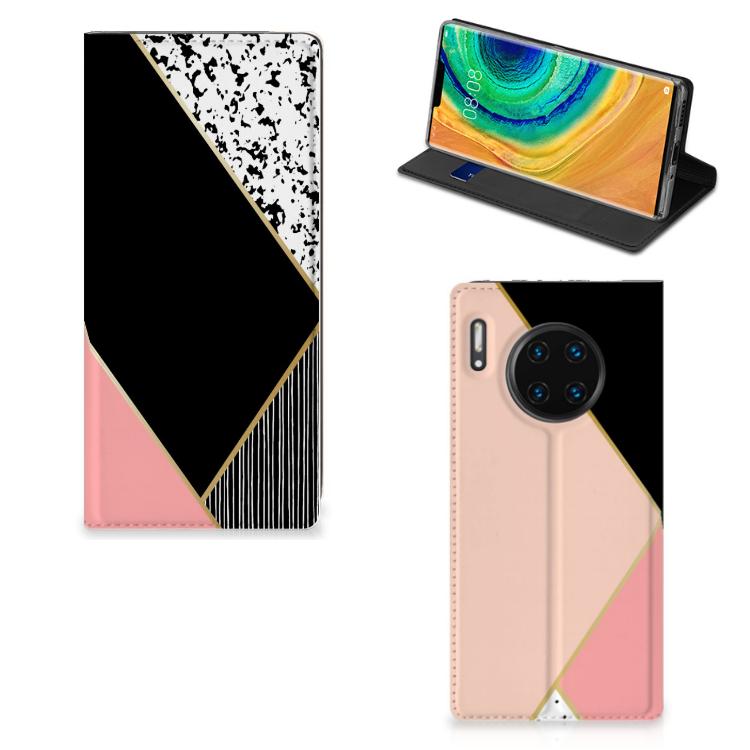 Huawei Mate 30 Pro Stand Case Zwart Roze Vormen