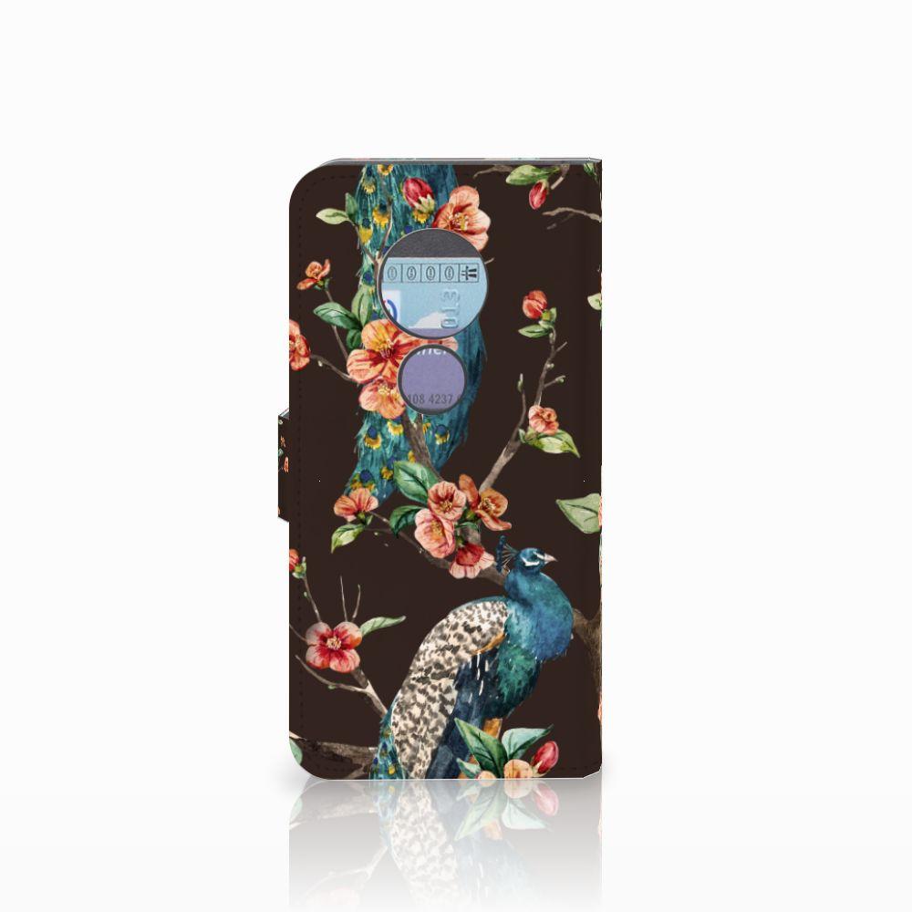 Motorola Moto G6 Play Telefoonhoesje met Pasjes Pauw met Bloemen