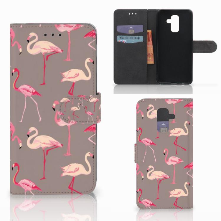 Samsung Galaxy A6 Plus 2018 Telefoonhoesje met Pasjes Flamingo