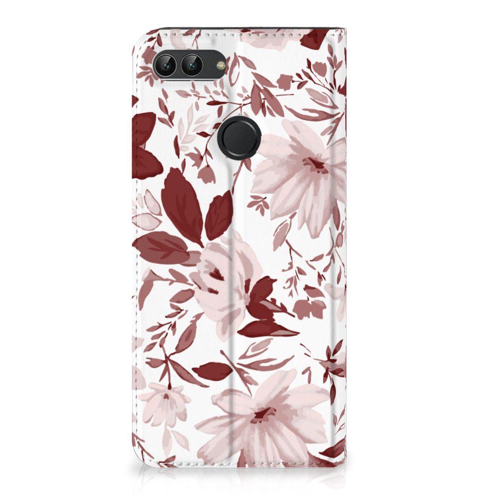 Huawei P Smart Uniek Standcase Hoesje Watercolor Flowers