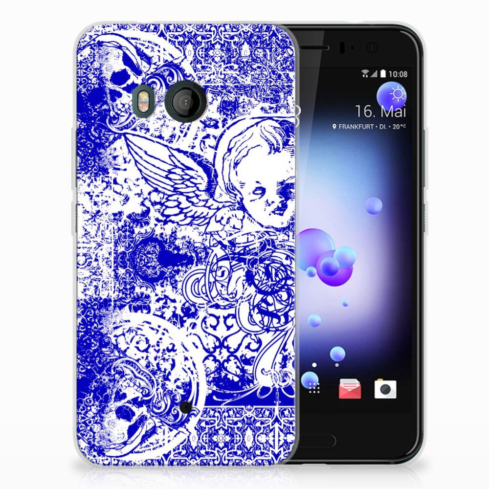 HTC U11 Uniek TPU Hoesje Angel Skull Blue