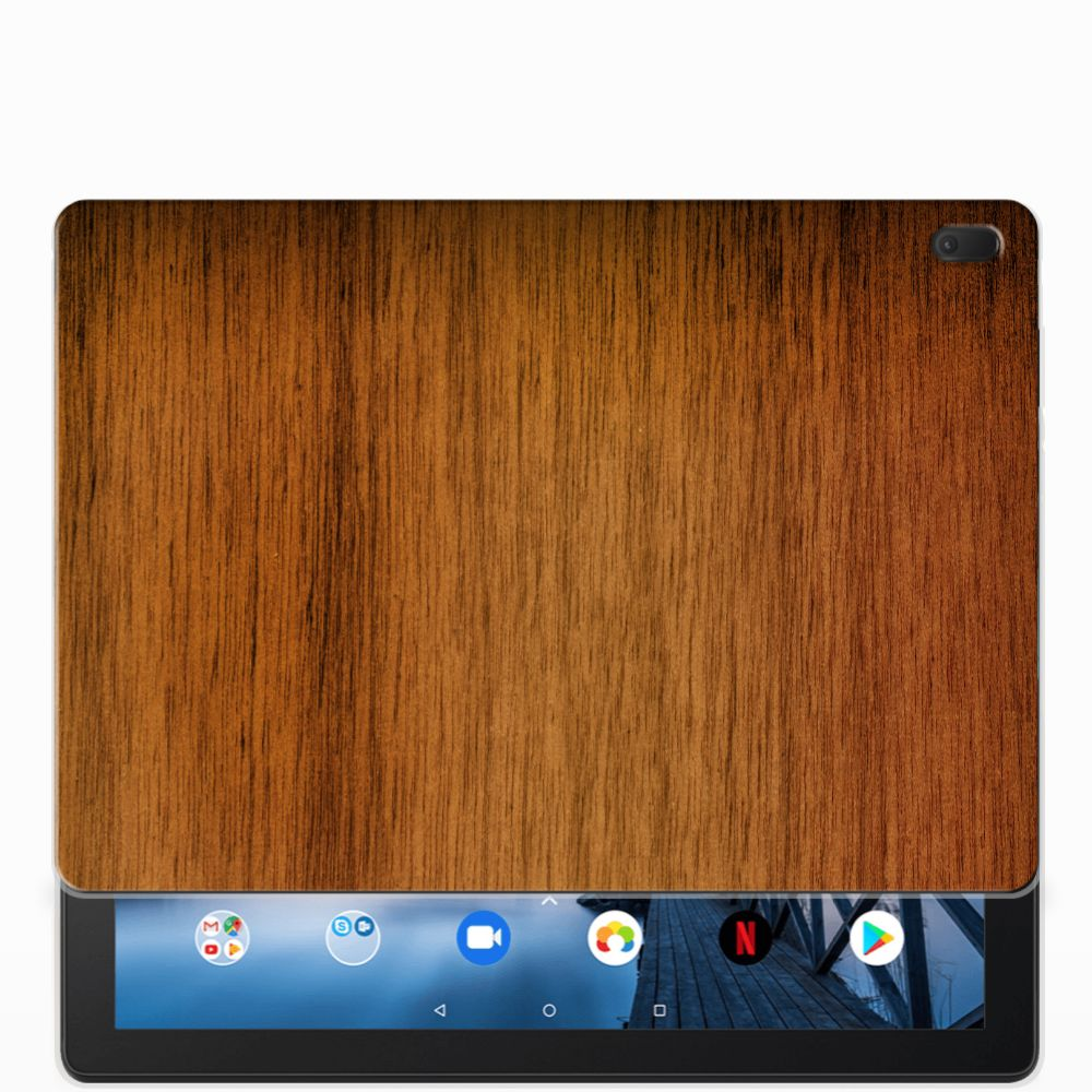 Lenovo Tab E10 Silicone Tablet Hoes Donker Hout