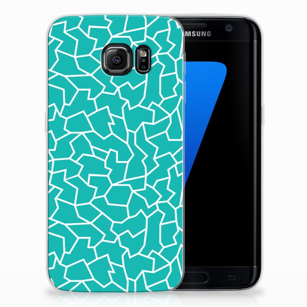 Samsung Galaxy S7 Edge TPU Hoesje Design Cracks Blue