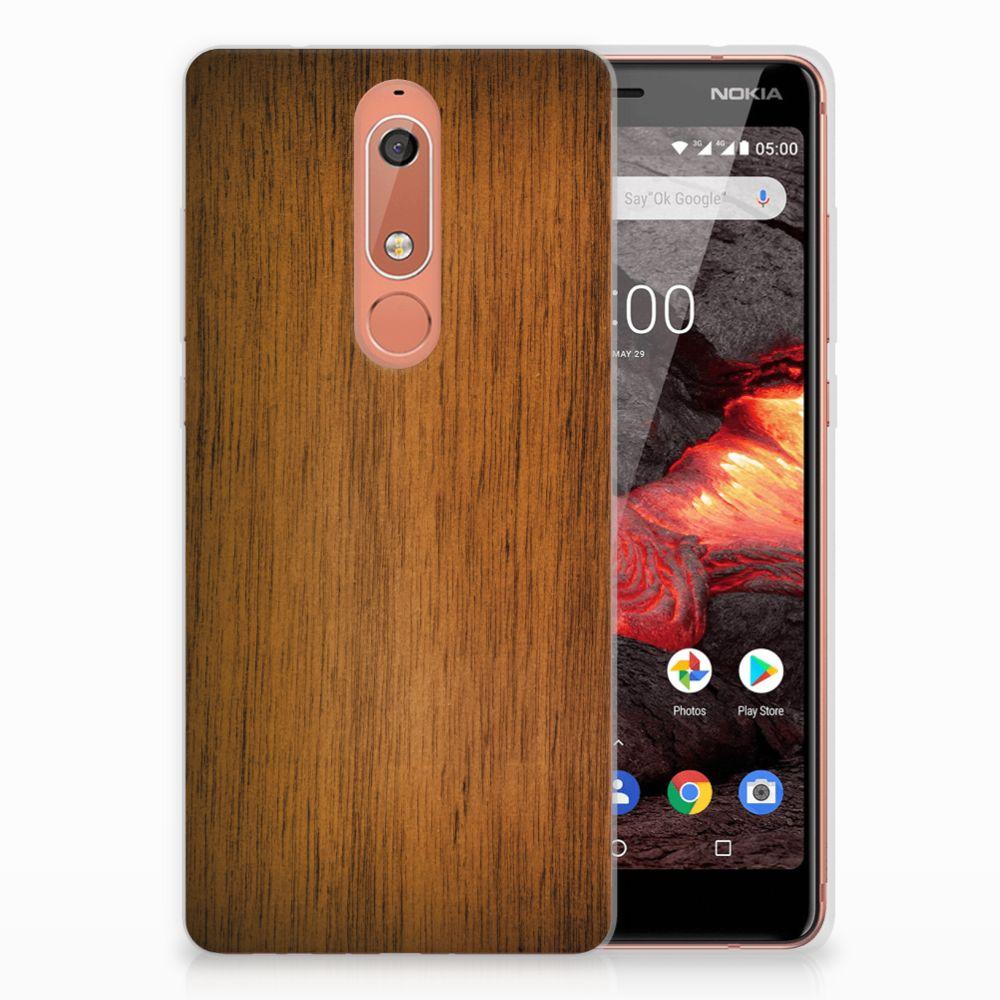 Nokia 5.1 (2018) Bumper Hoesje Donker Hout