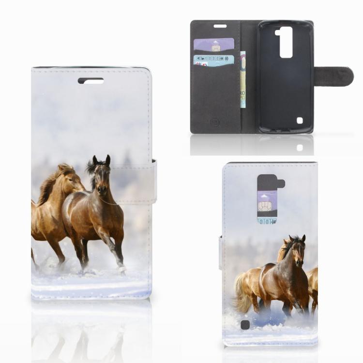 LG K10 2015 Telefoonhoesje met Pasjes Paarden