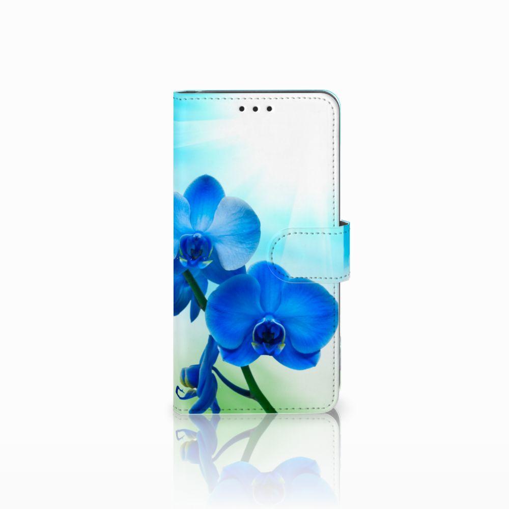 Samsung Galaxy A8 2018 Boekhoesje Design Orchidee Blauw
