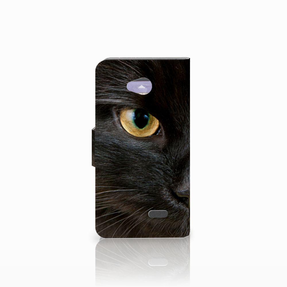 LG L70 Telefoonhoesje met Pasjes Zwarte Kat