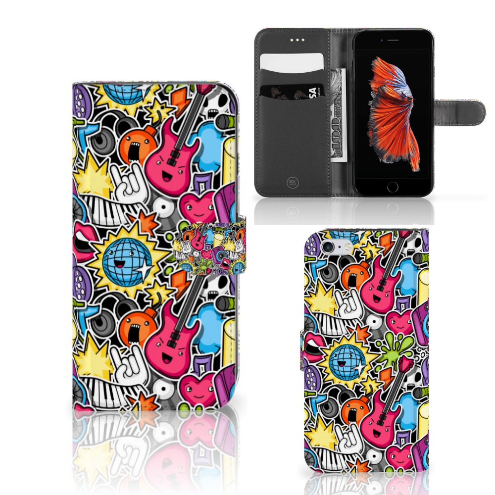 Apple iPhone 6 Plus | 6s Plus Wallet Case met Pasjes Punk Rock