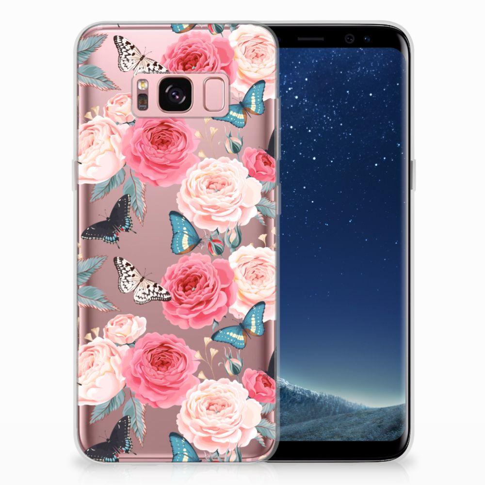 Samsung Galaxy S8 Uniek TPU Hoesje Butterfly Roses