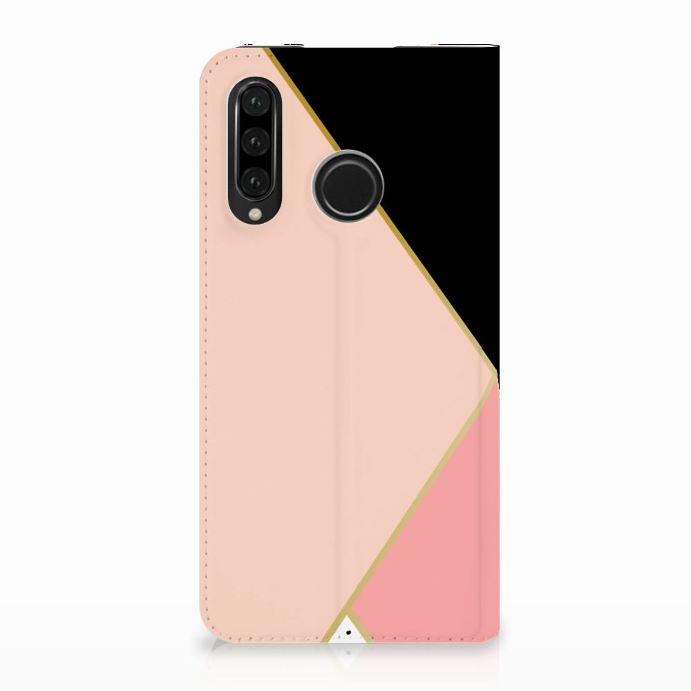 Huawei P30 Lite Standcase Hoesje Black Pink Shapes