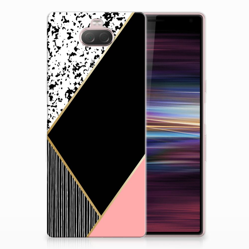 Sony Xperia 10 TPU Hoesje Zwart Roze Vormen