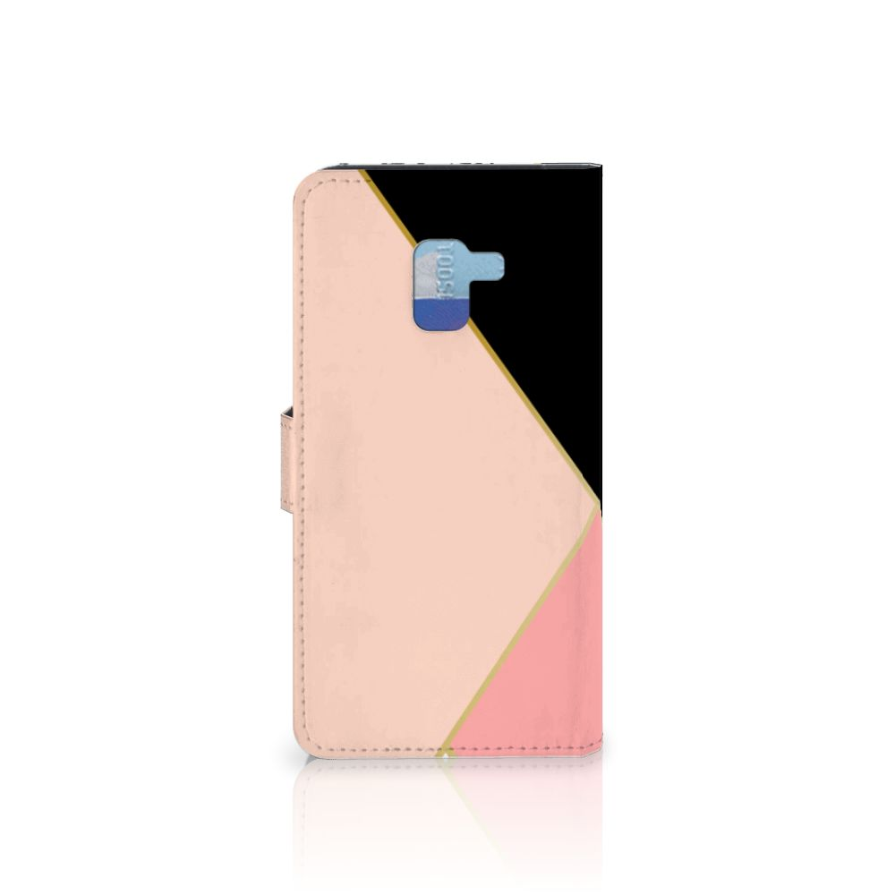 Samsung Galaxy A8 Plus (2018) Bookcase Zwart Roze Vormen