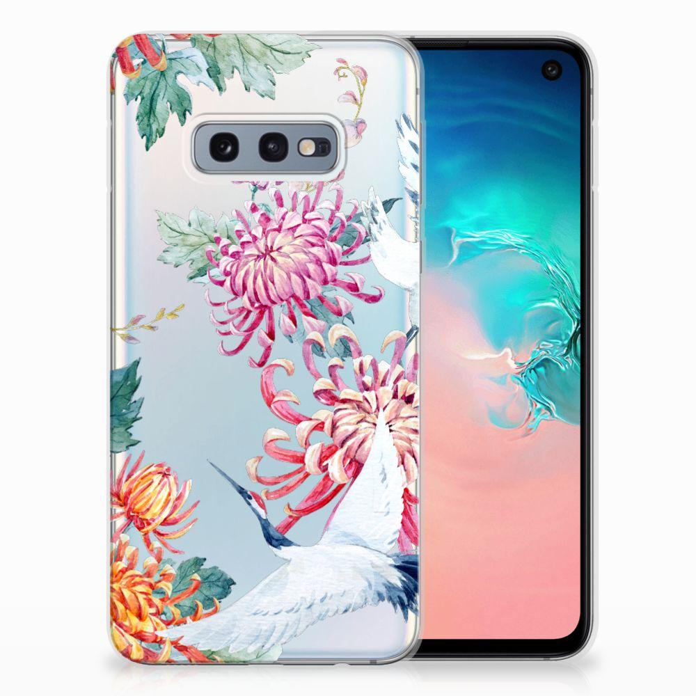 Samsung Galaxy S10e Uniek TPU Hoesje Bird Flowers