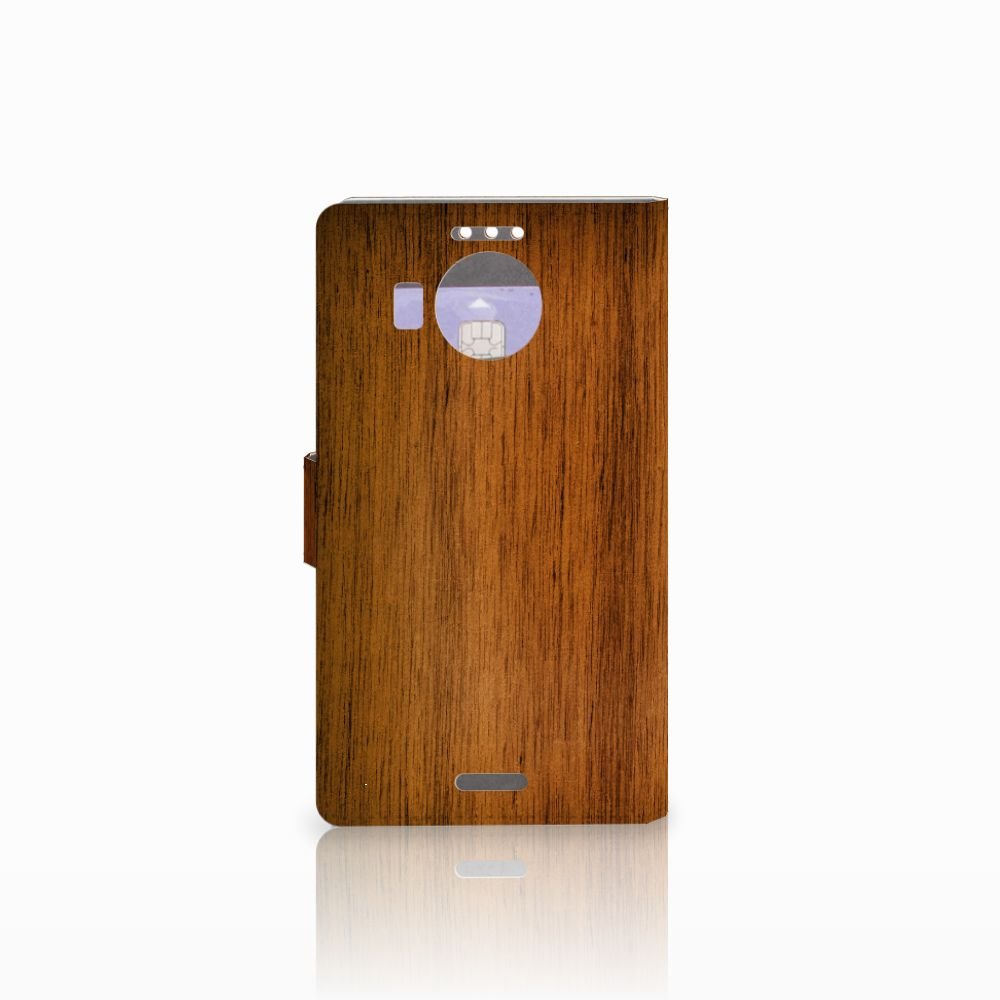 Microsoft Lumia 950 XL Book Style Case Donker Hout