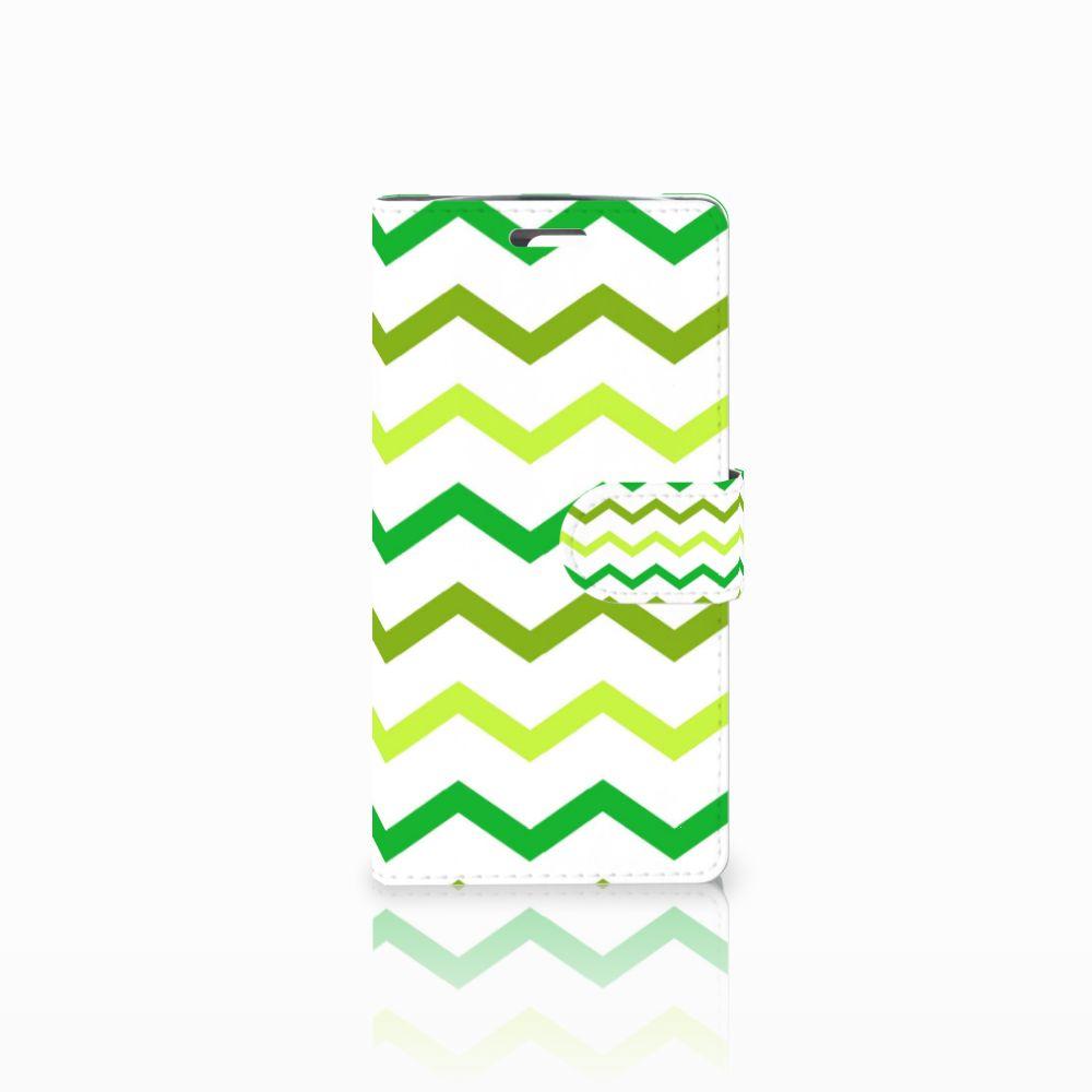 LG K10 2015 Uniek Boekhoesje Zigzag Groen