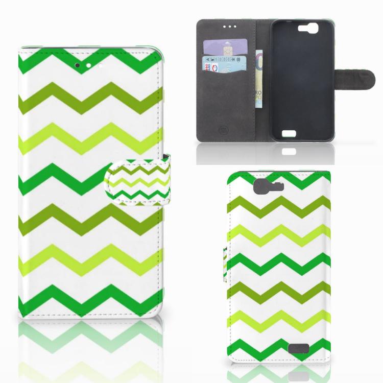 Huawei Ascend G7 Telefoon Hoesje Zigzag Groen