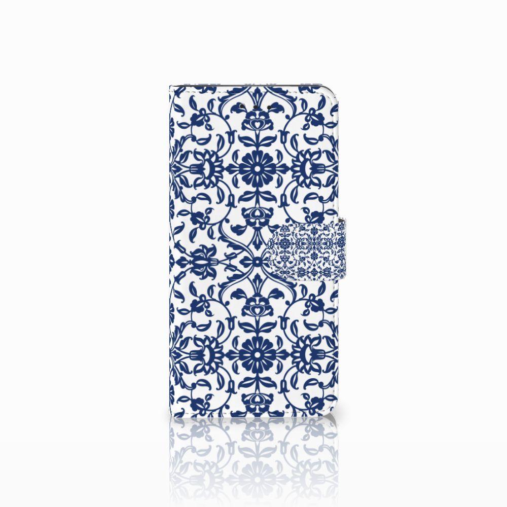 Motorola Moto E5 Play Uniek Boekhoesje Flower Blue