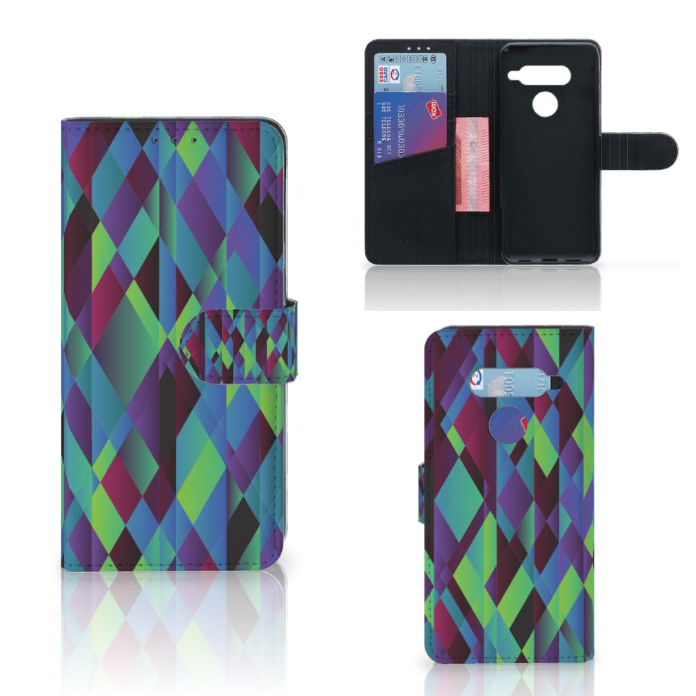LG V40 Thinq Bookcase Abstract Green Blue