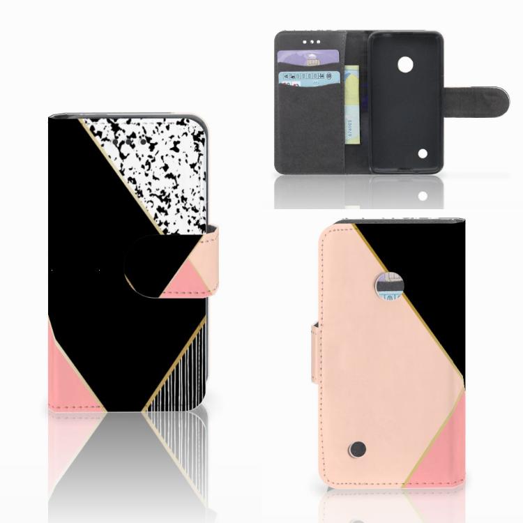 Nokia Lumia 530 Bookcase Zwart Roze Vormen