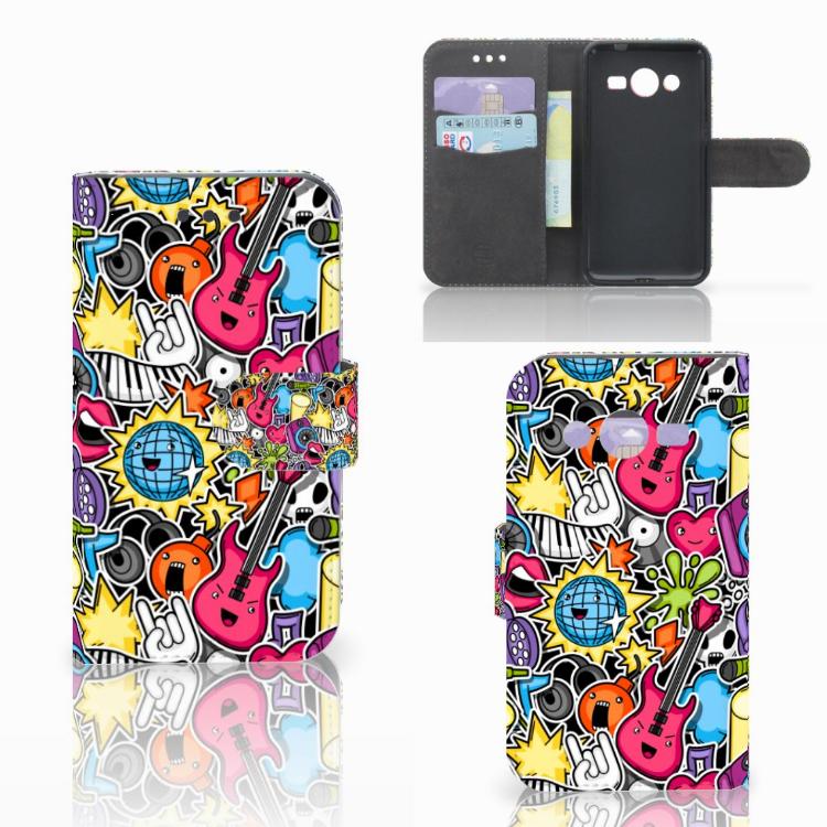 Samsung Galaxy Core 2 Wallet Case met Pasjes Punk Rock