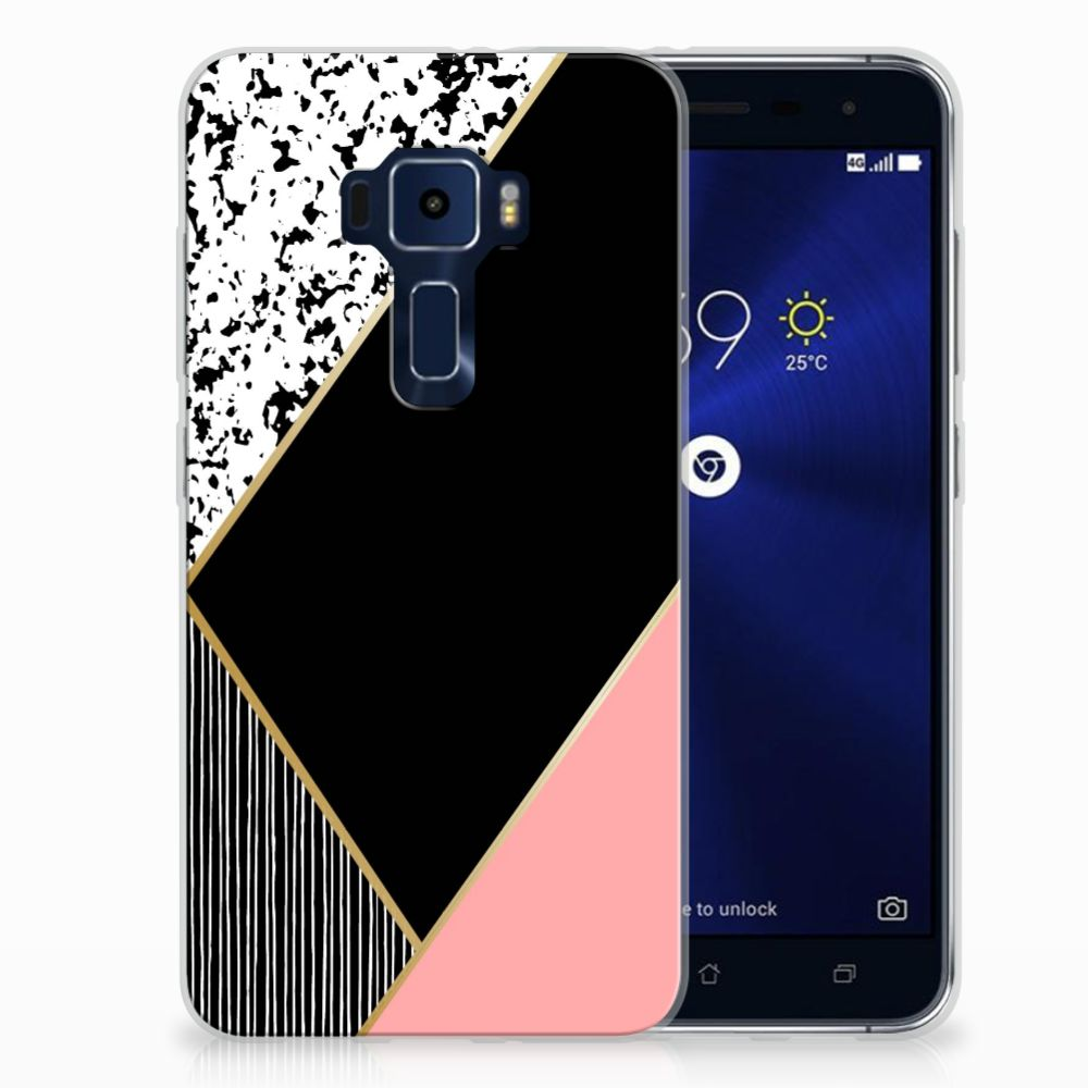 ASUS Zenfone 3 Uniek TPU Hoesje Black Pink Shapes