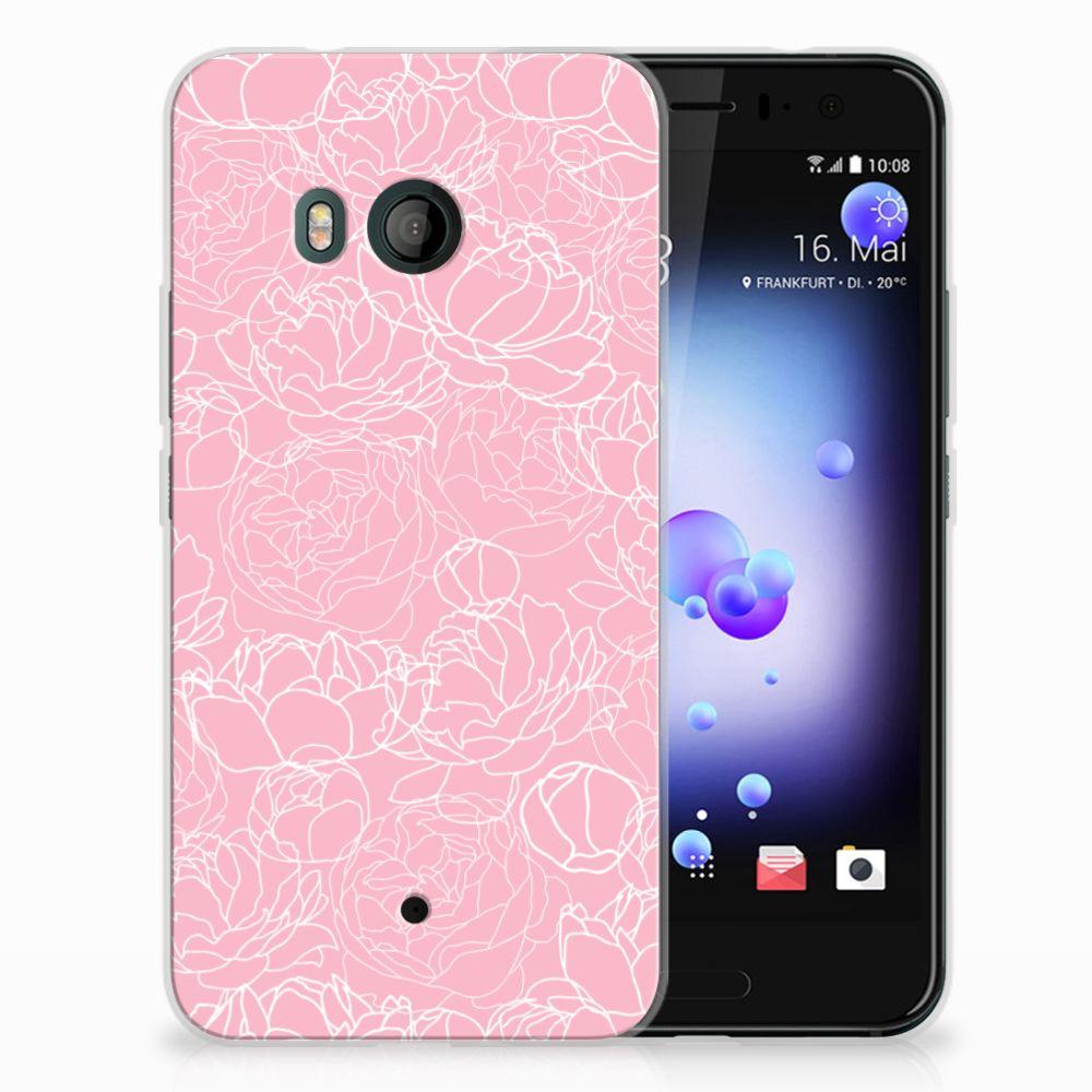 HTC U11 TPU Hoesje Design White Flowers