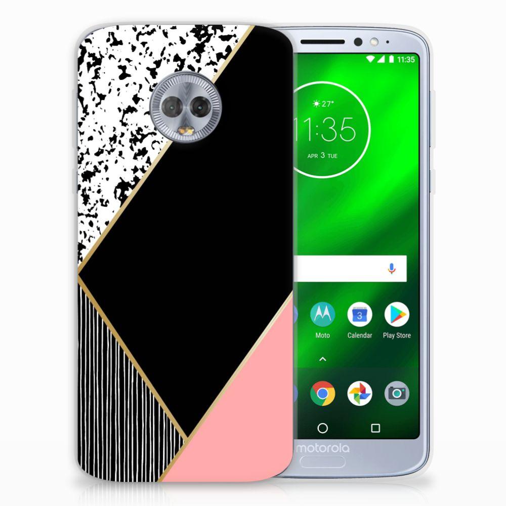 Motorola Moto G6 Plus TPU Hoesje Zwart Roze Vormen